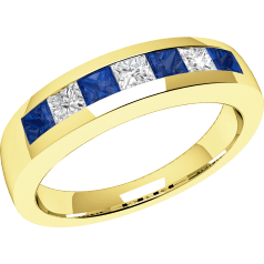 Sapphire and Diamond Ring for Women in 18ct yellow gold with 4 square sapphires and 3 princess cut diamonds, all in a channel setting