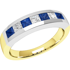 Sapphire and Diamond Ring for Women in 18ct yellow and white gold with 4 square sapphires and 3 princess cut diamonds, all in a channel setting