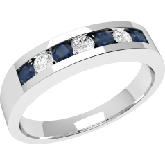 Sapphire and Diamond Ring for Women in 9ct white gold with 4 round sapphires and 3 round brilliant cut diamonds in a channel setting