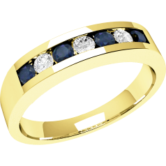 Sapphire and Diamond Ring for Women in 9ct yellow gold with 4 round sapphires and 3 round brilliant cut diamonds in a channel setting