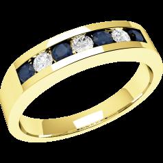 Inel cu Safir si Diamant Dama Aur Galben 18kt cu 7 Pietre, Safire si Diamante, Stil Eternity