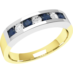 RDS036YW - 18ct yellow and white gold 7 stone sapphire and diamond ring