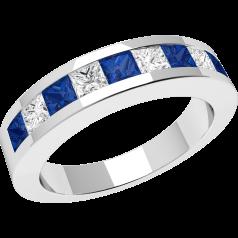 Inel cu Safir si Diamant Dama Aur Alb 18kt cu 9 Pietre, Safire si Diamante in Setare Canal