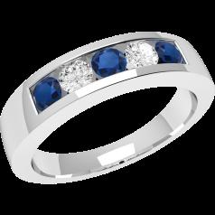 RDS047WInel cu Safir si Diamant Dama Aur Alb 18kt cu 5 Pietre, Safire si Diamante in Setare Canal