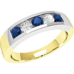 RDS047YW - 18ct yellow and white gold channel set sapphire and diamond 5 stone ring