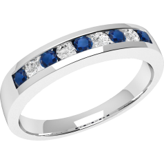 Sapphire and Diamond Ring for Women in 18ct white gold with 5 round sapphires and 4 round brilliant cut diamonds