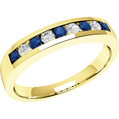 Sapphire and Diamond Ring for Women in 18ct yellow gold with 5 round sapphires and 4 round brilliant cut diamonds