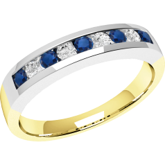 Sapphire and Diamond Ring for Women in 18ct yellow and white gold with 5 round sapphires and 4 round brilliant cut diamonds