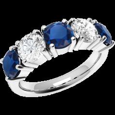 RDS110W-Inel cu Safir si Diamant Dama Aur Alb 18kt cu 5 Pietre, Safire si Diamante cu Eleganță
