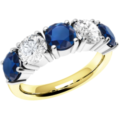 RDS110YW - 18ct yellow and white gold sapphire and diamond claw set 5 stone ring