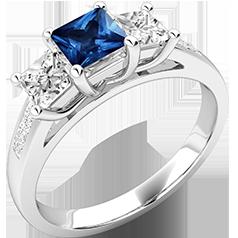 RDS111W-Inel cu Safir si Diamant Dama Aur Alb 18kt cu un Safir Taietura Pătrat in Mijloc si 2 Diamante Taiat Princess pe Fiecsre Parte