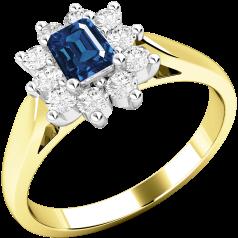 Inel cu Safir si Diamant Dama Aur Galben si Aur Alb 18kt cu un Safir Forma Smarald si Diamante Rotunde in Jur in Setare Gheare