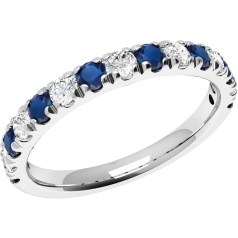 Sapphire and Diamond Ring for Women in 18ct white gold with 8 sapphires and 7 diamonds, all in a claw setting