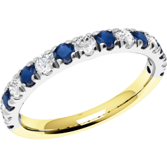 Sapphire and Diamond Ring for Women in 18ct yellow and white gold with 8 sapphires and 7 diamonds, all in a claw setting