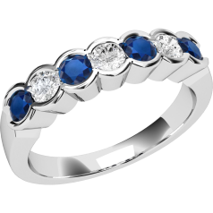 Sapphire and Diamond Ring for Women in 9ct white gold with 4 round sapphires and 3 round brilliant cut diamonds, all in a rub-over setting