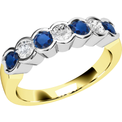 Sapphire and Diamond Ring for Women in 9ct yellow and white gold with 4 round sapphires and 3 round brilliant cut diamonds, all in a rub-over setting