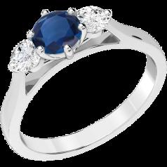 RDS202W - 18kt Weissgold Ring mit einem runden Saphir in Krappenfassung in der Mitte und einem runden Brillanten auf jeder Seite