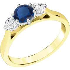 RDS202YW - 18ct yellow and white gold ring with a claw set central round sapphire and a round brilliant cut  diamonds on either side.