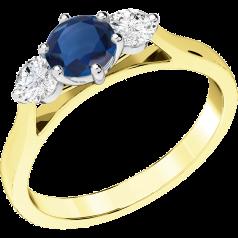 Inel cu Safir si Diamant Dama Aur Galben si Aur Alb 18kt cu un Safir Rotund si 2 Diamante Rotund Briliant