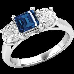 Saphir und Diamant Ring für Dame in 18kt Weißgold mit einem quadratischen Saphir und 2 runden Brillanten in Krappenfassung