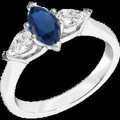 Inel cu Safir si Diamant Dama Aur Alb 18kt cu un Safir Forma Marchiza si 2 Diamante in Forma de Para