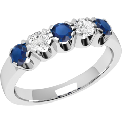 Sapphire and Diamond Ring for Women in 18ct white gold with 3 round sapphires and 2 round brilliant diamonds