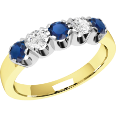 RDS241YW - 18ct yellow and white gold ring with 3 round sapphires and 2 round brilliant diamonds