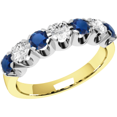 RDS244YW - 18ct yellow and white gold 7 stone sapphire and diamond ring