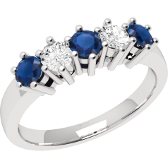 Sapphire and Diamond Ring for Women in 9ct white gold with 3 round sapphires and 2 round brilliant diamonds, all in a claw setting