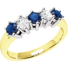 Sapphire and Diamond Ring for Women in 9ct yellow and white gold with 3 round sapphires and 2 round brilliant diamonds, all in a claw setting