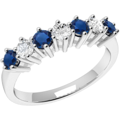 Sapphire and Diamond Ring for Women in 9ct white gold with 4 round sapphires and 3 round brilliant cut diamonds, all in a claw setting