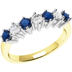 Sapphire and Diamond Ring for Women in 9ct yellow and white gold with 4 round sapphires and 3 round brilliant cut diamonds, all in a claw setting