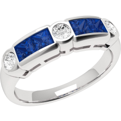 RDS260W - 18ct white gold sapphire and diamond rub over set 7 stone ring
