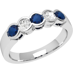 Sapphire and Diamond Ring for Women in 9ct white gold with 3 round sapphires and 2 round brilliant cut diamonds, all in a rub-over setting