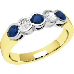 Sapphire and Diamond Ring for Women in 9ct yellow and white gold with 3 round sapphires and 2 round brilliant cut diamonds, all in a rub-over setting
