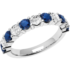Sapphire and Diamond Ring for Women in 18ct white gold with 6 round sapphires and 5 round brilliant diamonds