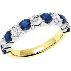 Sapphire and Diamond Ring for Women in 18ct yellow and white gold with 6 round sapphires and 5 round brilliant diamonds