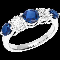 Inel cu Safir si Diamant Dama Aur Alb 18kt cu 5 Pietre, Safire si Diamante cu Dimensiuni Gradate