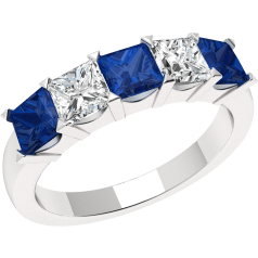 Sapphire and Diamond Ring for Women in 18ct white gold with 3 square sapphires and 2 princess cut diamonds, all in a claw setting
