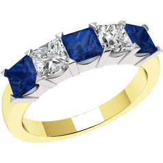 Sapphire and Diamond Ring for Women in 18ct yellow and white gold with 3 square sapphires and 2 princess cut diamonds, all in a claw setting