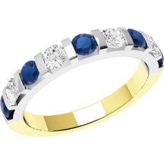 RDS327YW - Inel din aur galben şi alb 18kt cu 9 pietre, safire şi diamante cu setare bară