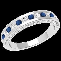 Inel cu Safir si Diamant Dama Aur Alb 18kt cu Safire si Diamante Rotunde in Centru si Diamante Rotund Briliant pe Lateral