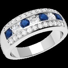RDS332W-Inel Semi Eternity cu Safire si Diamante Dama Aur Alb, 18kt cu Diamante si Safire Rotunde in Setare Tip Canal & Gheare