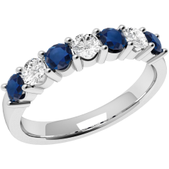 RDS336/9W - 9ct white gold 7 stone sapphire and diamond ring
