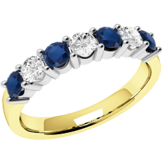 RDS336/9YW - 9ct yellow and white gold 7 stone sapphire and diamond ring