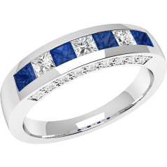RDS337W - 18ct white gold square sapphire and princess cut diamond ring in a channel and claw setting