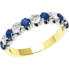 Sapphire and Diamond Ring for Women in 18ct yellow and white gold with 6 round sapphires and 5 round brilliant diamonds, all in a claw setting