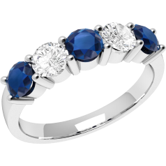 Sapphire and Diamond Ring for Women in 18ct white gold with 3 sapphires and 2 diamonds