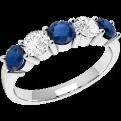 Inel cu Safir si Diamant Dama Aur Alb 18kt cu 3 Safire si 2 Diamante in Setare Gheare
