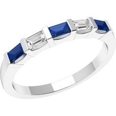 Sapphire and Diamond Ring for Women in 18ct white gold with 3 baguette cut sapphires and 2 baguette cut diamonds, all in a bar setting